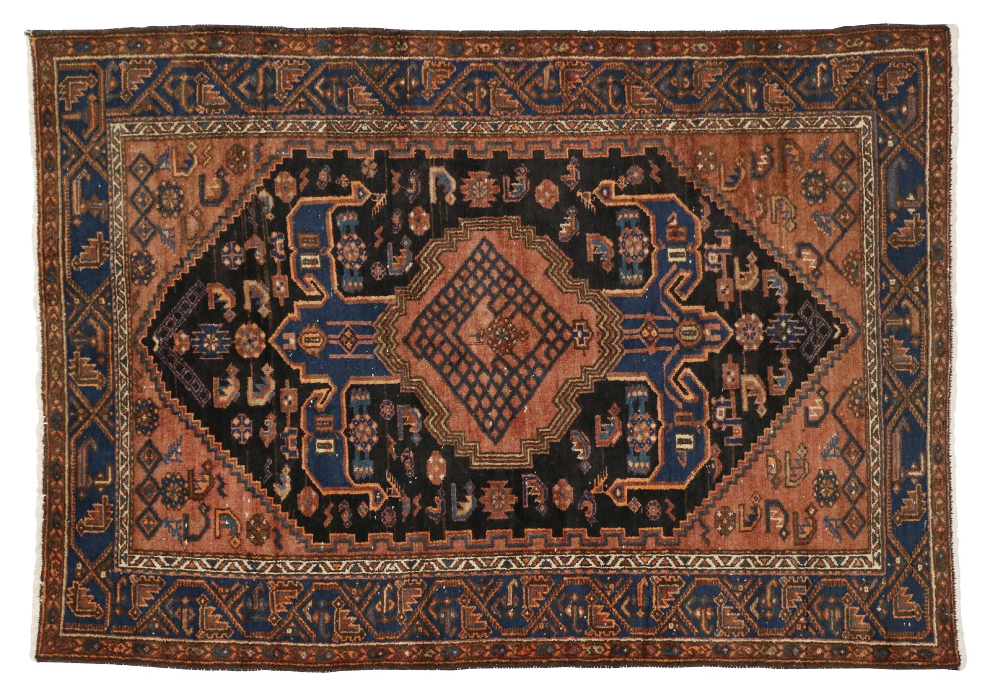 5 X 6 Antique Persian Hamadan Rug 20444