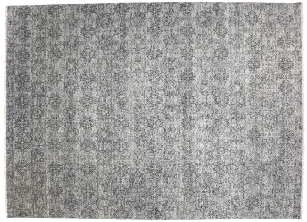 Transitional Rug with Exotic Arabesque Pattern and Modern Style, 09'11