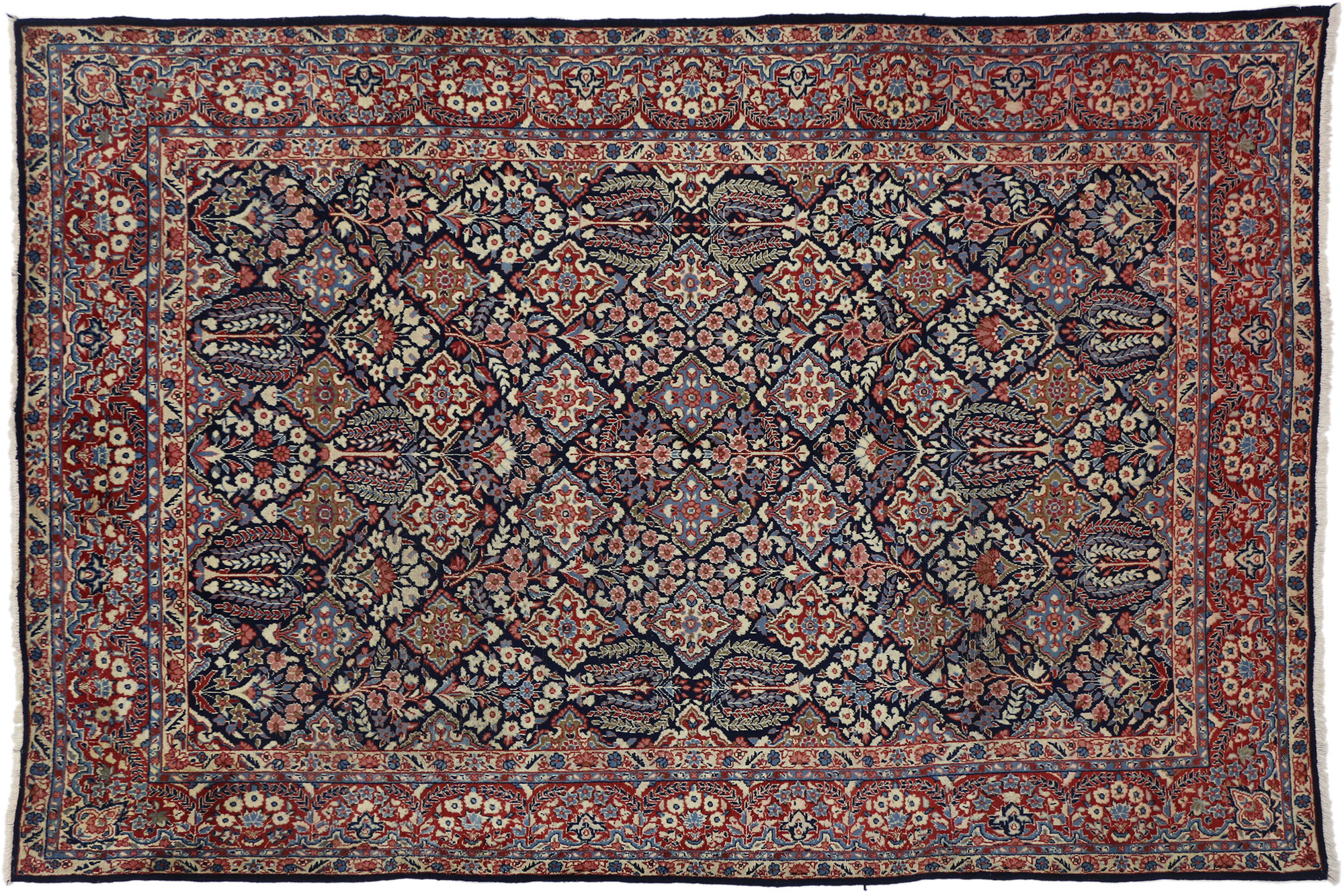 6 X 10 Vintage Yazd Rug 75211