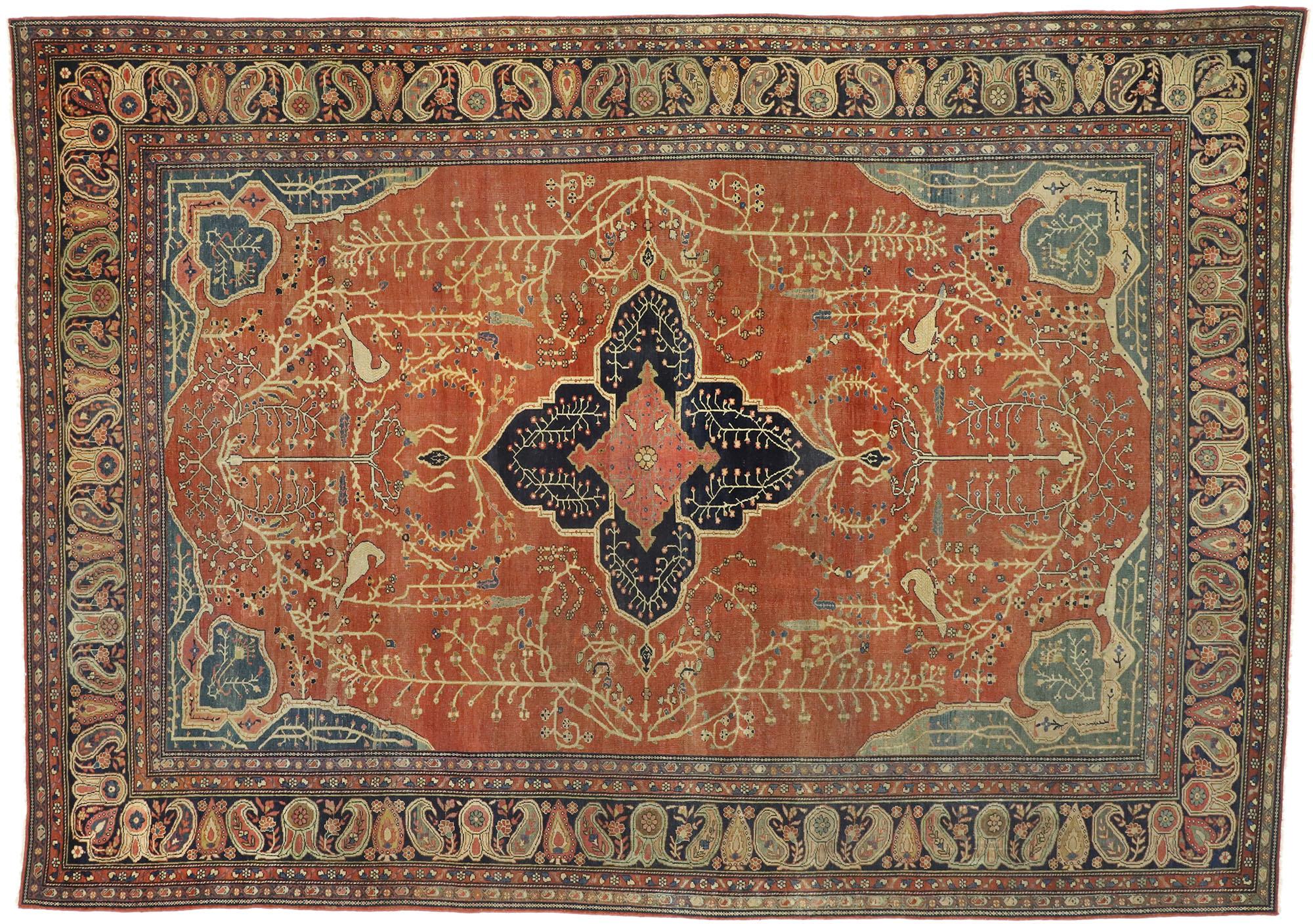 9 X 12 Antique Persian Farahan Rug 76783