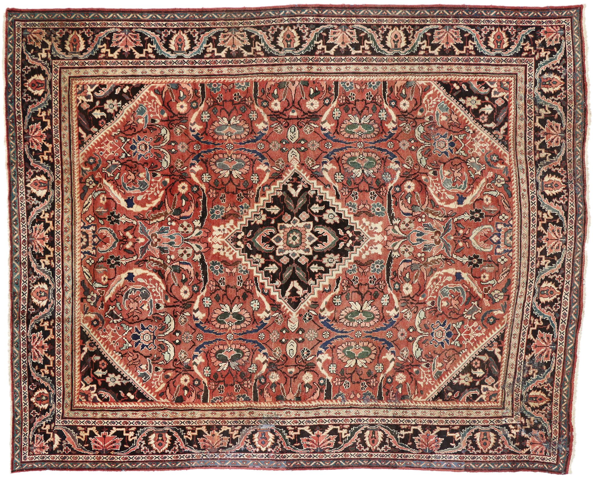 Antique Mahal Oriental Rug 10 X 13