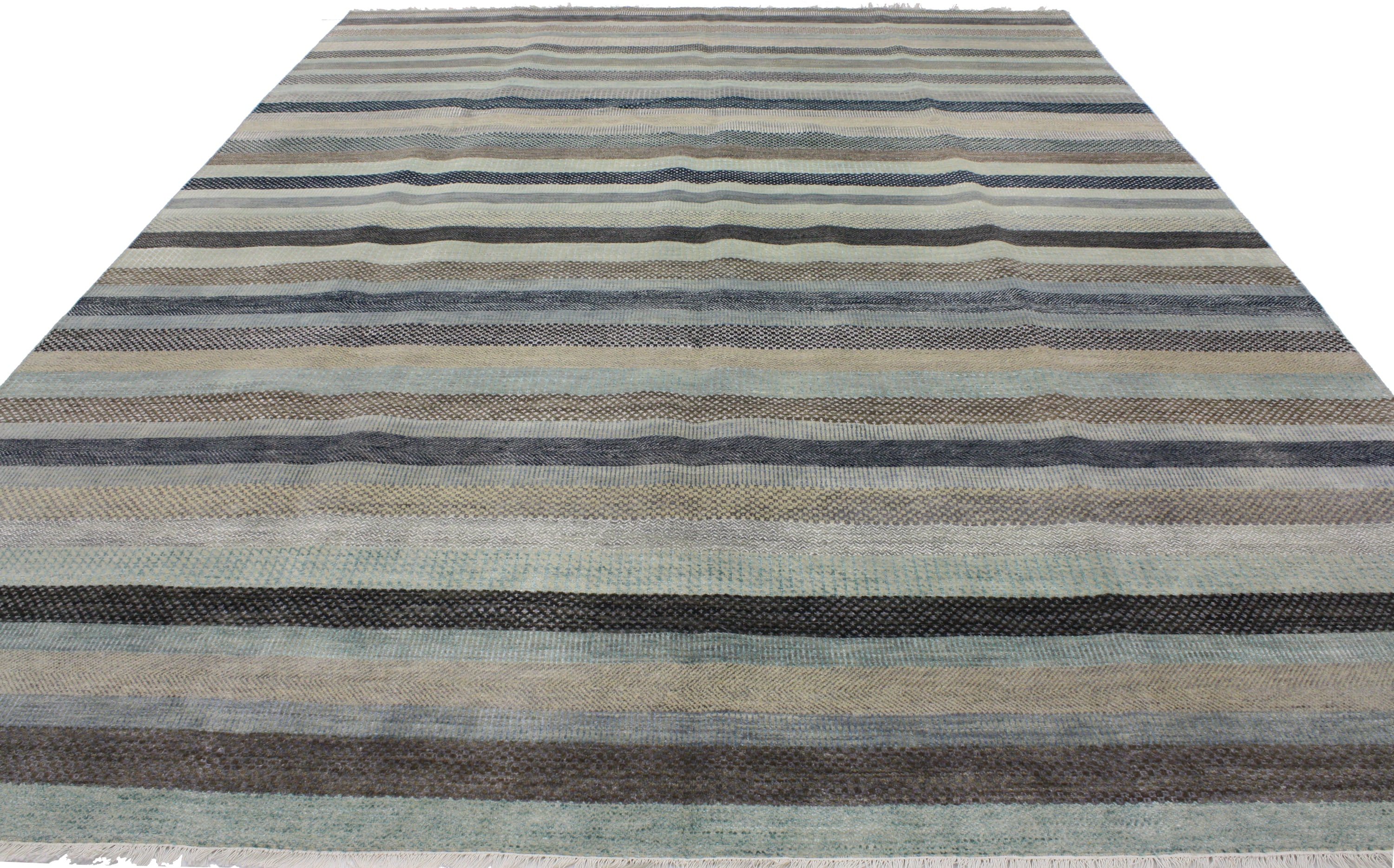 Transitional Grass Cloth Pattern Area Rug with Modern Hamptons Chic Style
