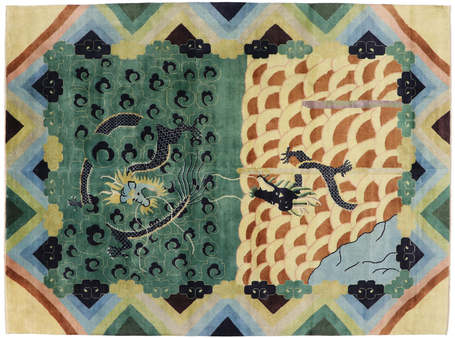 10 x 13 Contemporary Chinese Dragon Pictorial Rug 30638
