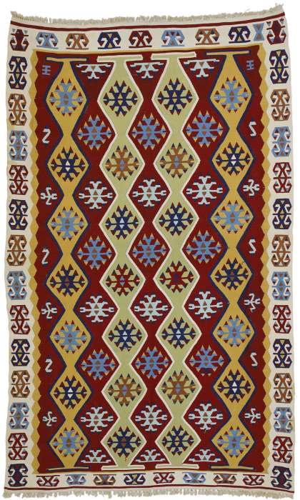 3 x 6 Vintage Turkish Silk  Kilim Rug 70792