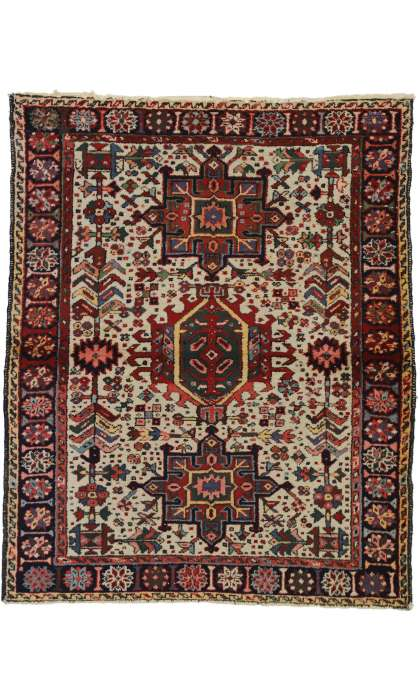 4 x 4 Antique Heriz Rug 73300