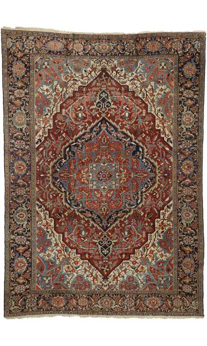 9 x 13 Antique Serapi Rug 73373