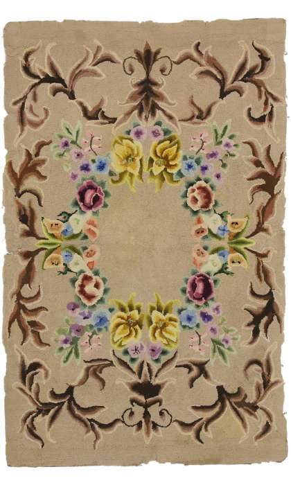 3 x 4 Antique Hook Rug 74345