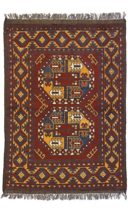 3 x 5 Vintage Afghan Rug 74663