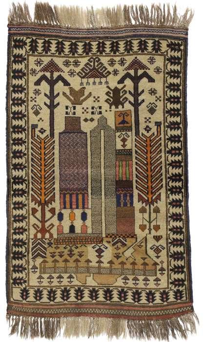 3 x 4 Vintage Afghan Rug 74665