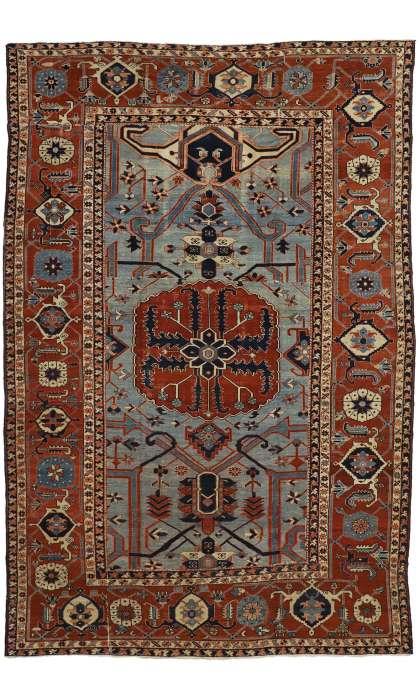 9 x 13 Antique Serapi Rug 74059