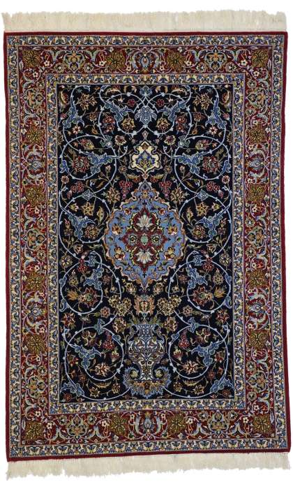 4 x 6 Vintage Isfahan Rug 77253