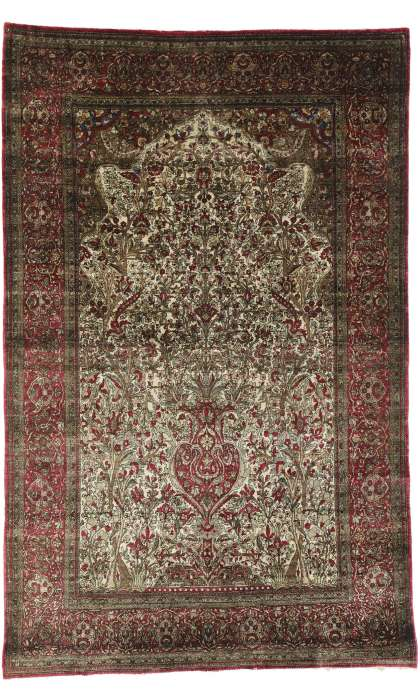 4 x 7 Antique Silk Kashan Rug 77269