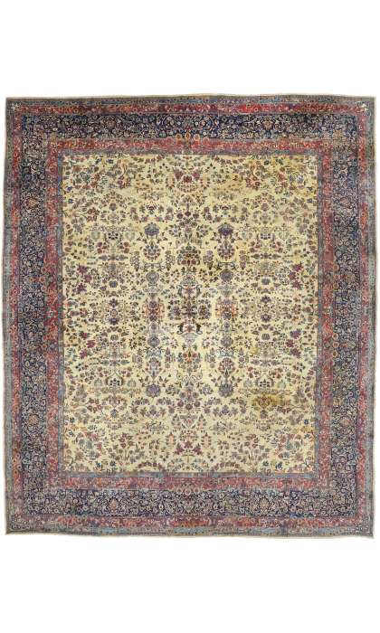 13 x 15 Antique Kerman Rug 77377