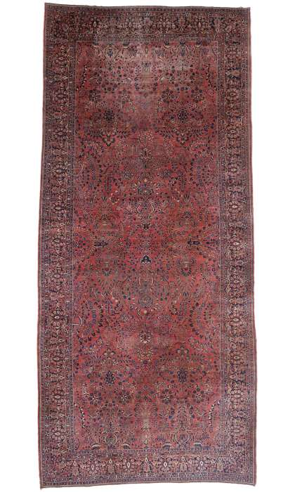 11 x 23 Antique Sarouk Rug 77381