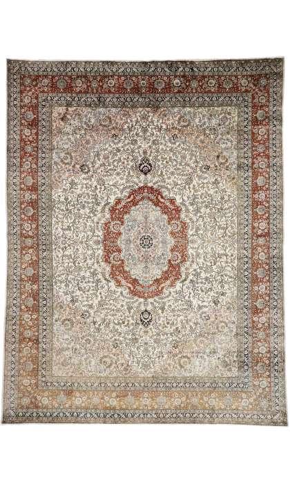 9 x 12 Vintage Silk Tabriz Rug 77376