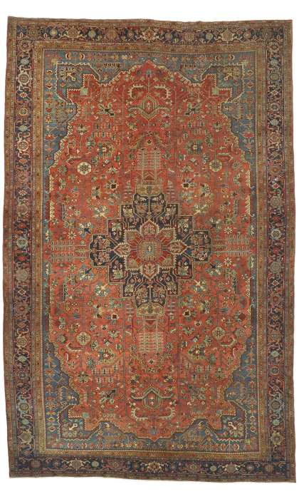 12 x 19 Antique Serapi Rug 77219