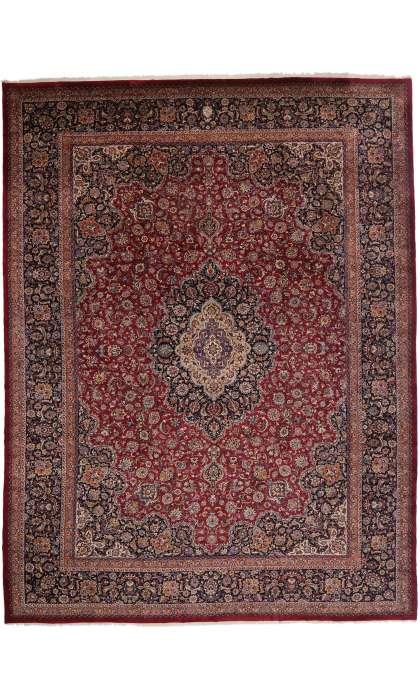 17 x 22 Vintage Persian Mashhad Palace Rug 77405
