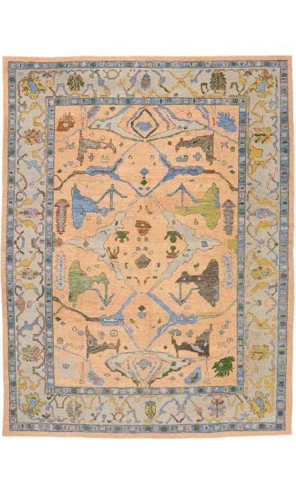 11 x 14 Contemporary Turkish Oushak Rug 52787