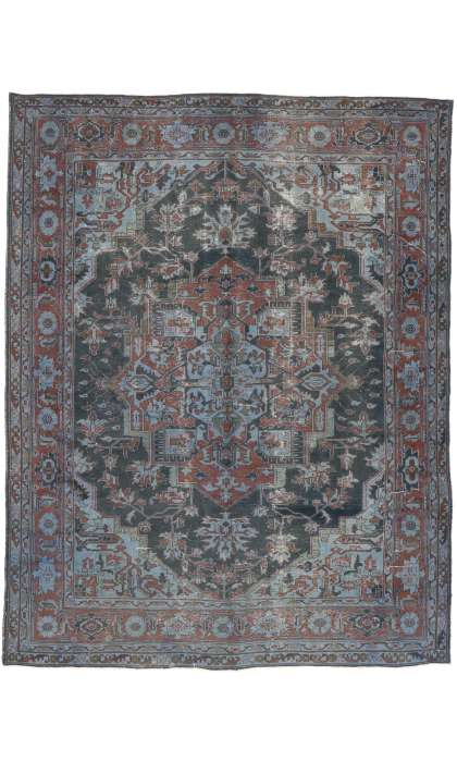 10 x 13 Antique Turkish Heriz Rug 52839
