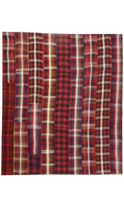 13 x 15 Vintage Kilim Tartan Plaid Rug 60814