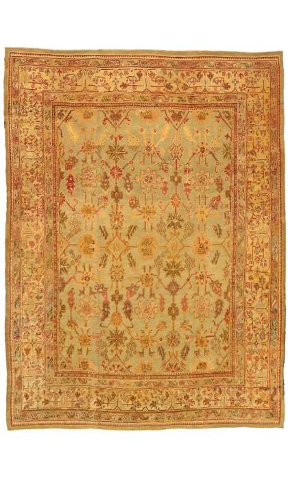 10 x 14 Antique Oushak Rug 7417510 x 14 Antique Oushak Rug 74175