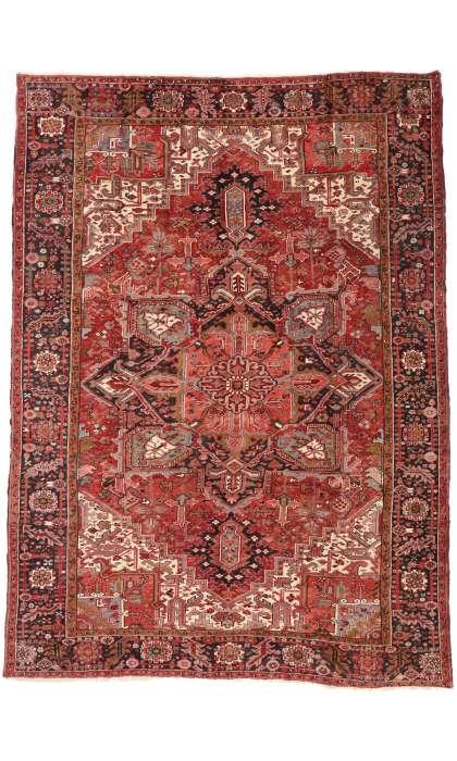10 x 13 Vintage Persian Heriz Rug 74970