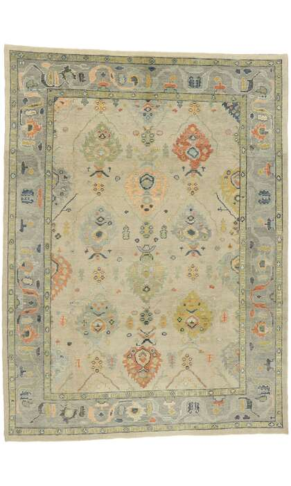 9 x 13 Contemporary Turkish Oushak Rug 52875