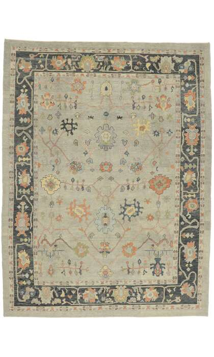 10 x 14 Contemporary Turkish Oushak Rug 52883
