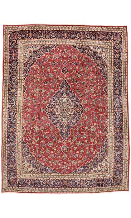 10 x 13 Vintage Persian Kashan Rug 77420
