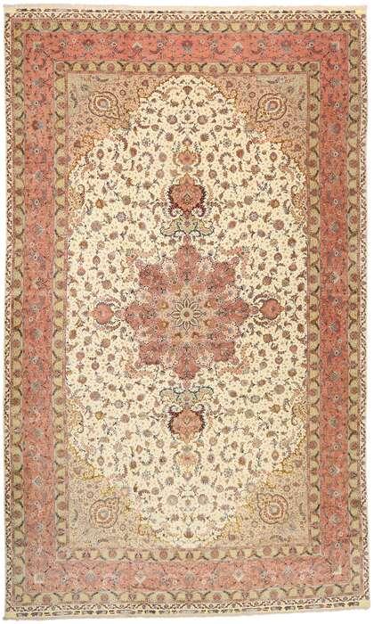 17 x 27 Vintage Persian Tabriz Rug 77436