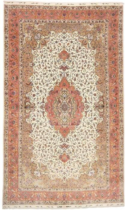 16 x 27 Vintage Persian Tabriz Rug 77437