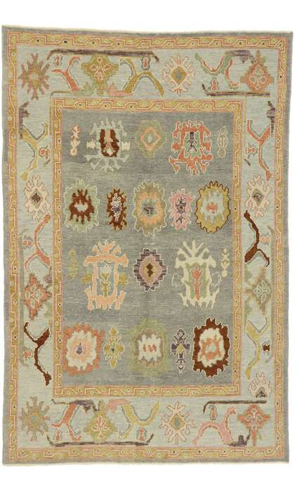 6 x 9 Contemporary Turkish Oushak Rug 52887