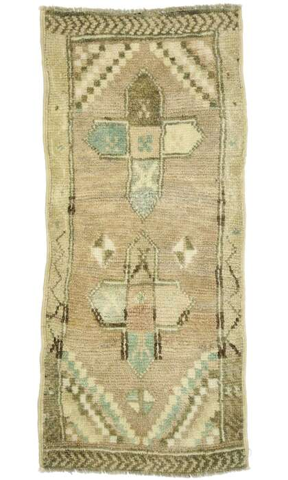 1 x 3 Vintage Turkish Oushak Rug 53001