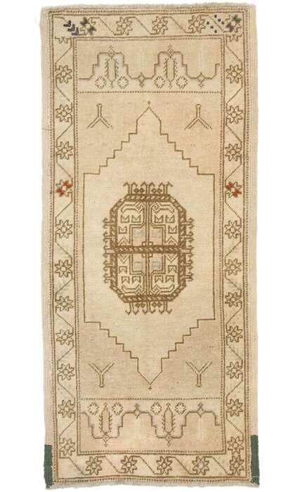 1 x 3 Vintage Turkish Oushak Rug 53004