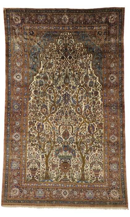 6 x 10 Antique Kashan Mohtasham Rug 74220