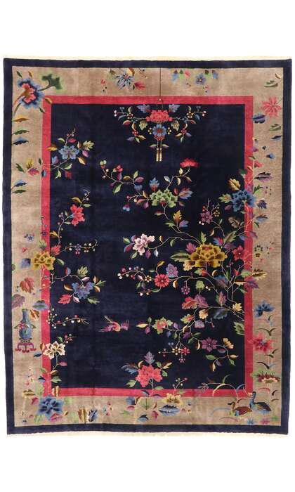 9 x 12 Antique Chinese Art Deco Rug 77452