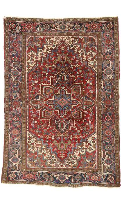 6 x 9 Antique Persian Heriz Rug 77456
