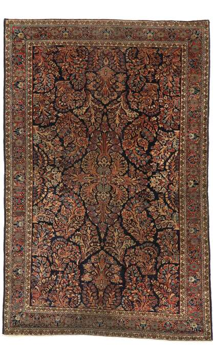 4 x 6 Antique Persian Sarouk Mohajeran  Rug 77460