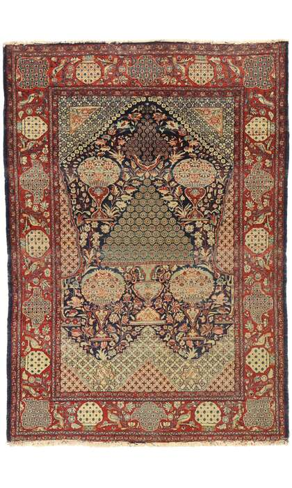 5 x 6 Antique Persian Kashan Rug 77461