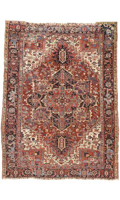 8 x 11 Antique Heriz Rug 77469