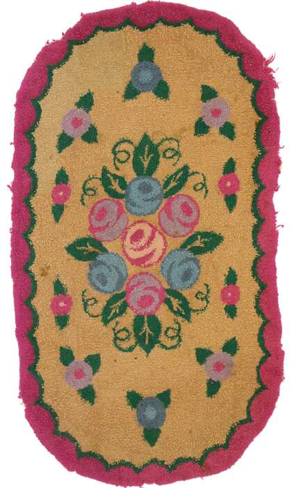 2 x 3 Antique American Floral Hooked Rug 74353