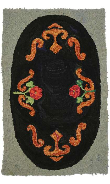 2 x 3 Antique American Floral Hooked Rug 74354