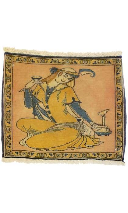 2 x 1 Vintage Persian Khamseh Pictorial Rug 76196