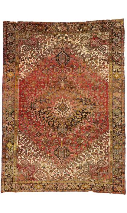 9 x 13 Antique Persian Heriz Rug 77483
