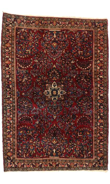 4 x 5 Antique Persian Sarouk Rug 77235