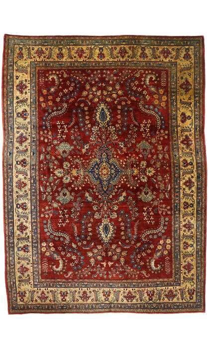 9 x 12 Antique Persian Sarouk Mohajeran Rug 77516