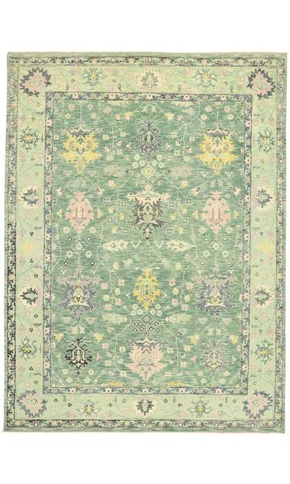 9 x 12 Contemporary Green Oushak Rug 80598