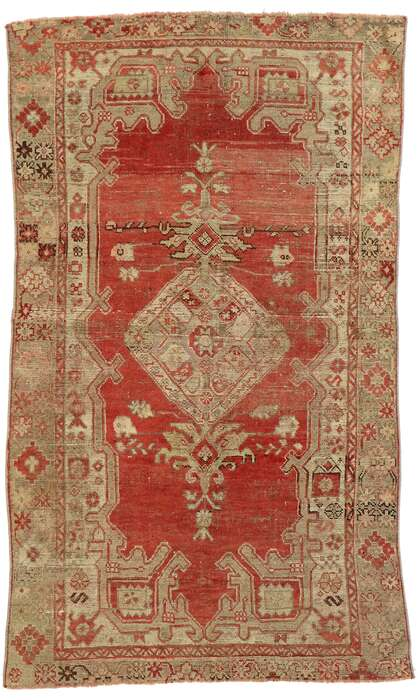 4 x 6 Vintage Turkish Oushak Rug 53052