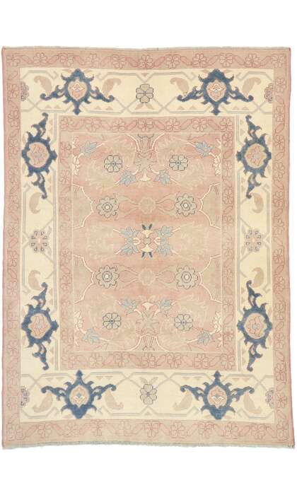 6 x 8 Vintage Turkish Oushak Rug 53055
