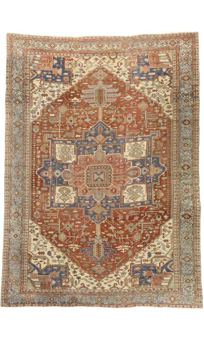 14 x 19 Antique Persian Serapi Rug 72743